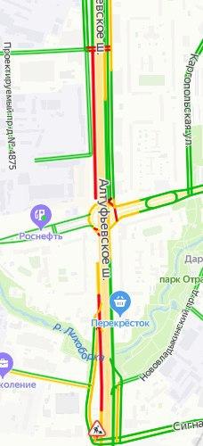 Утром 18 июня загруженность Алтуфьевского шоссе - пять баллов